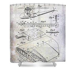 1949 Helicopter Patent Shower Curtain by Jon Neidert
