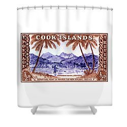 Shower Curtain featuring the painting 1949 Native Fishing, Cook Islands by Historic Image