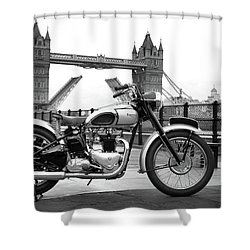 1949 Triumph T100 Shower Curtain by Mark Rogan