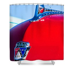 Shower Curtain featuring the photograph 1950 Ford Hood Ornament by Aloha Art