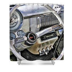 1950 White Chevy Coupe Shower Curtain by Trey Foerster