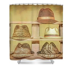 1950s Hats Shower Curtain by Marion Johnson