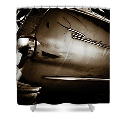 Shower Curtain featuring the photograph 1950s Packard Tail by Marilyn Hunt