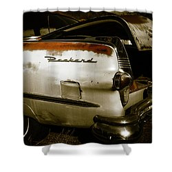 Shower Curtain featuring the photograph 1950s Packard Trunk by Marilyn Hunt