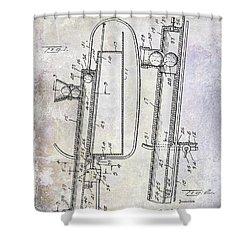 1951 Baseball Pitching Machine Patent Shower Curtain