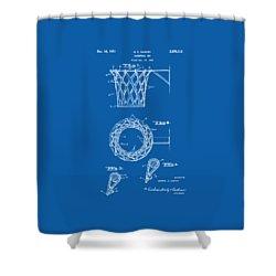 Shower Curtain featuring the digital art 1951 Basketball Net Patent Artwork - Blueprint by Nikki Marie Smith