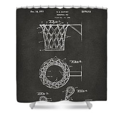 1951 Basketball Net Patent Artwork - Gray Shower Curtain by Nikki Marie Smith