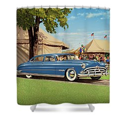 1951 Hudson Hornet - Square Format - Antique Car Auto - Nostalgic Rural Country Scene Painting Shower Curtain