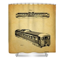 1951 Railway Car Patent Shower Curtain by Dan Sproul