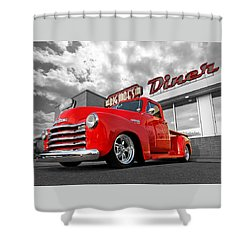 1952 Chevrolet Truck At The Diner Shower Curtain by Gill Billington