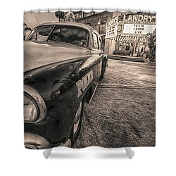 1952 Chevy Black And White Shower Curtain