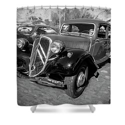 Shower Curtain featuring the photograph 1953 Citroen Traction Avant Bw by Rich Franco