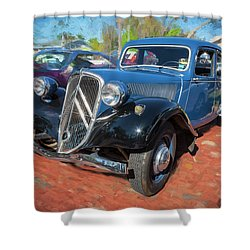 Shower Curtain featuring the photograph 1953 Citroen Traction Avant by Rich Franco