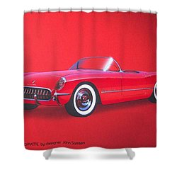 1953 Corvette Classic Vintage Sports Car Automotive Art Shower Curtain by John Samsen