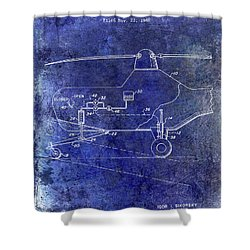 1953 Helicopter Patent Blue Shower Curtain
