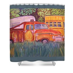 Shower Curtain featuring the painting 1954 Gmc Wrecker Truck by Belinda Lawson
