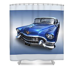 Shower Curtain featuring the photograph 1955 Cadillac Blue by Gill Billington