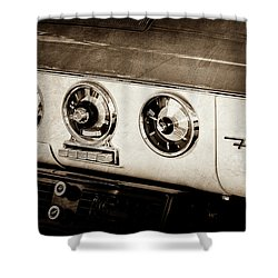 Shower Curtain featuring the photograph 1955 Ford Fairlane Dashboard Emblem -0444s by Jill Reger
