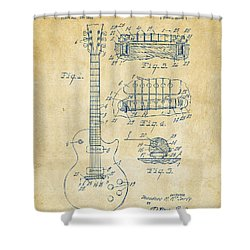 1955 Mccarty Gibson Les Paul Guitar Patent Artwork Vintage Shower Curtain by Nikki Marie Smith