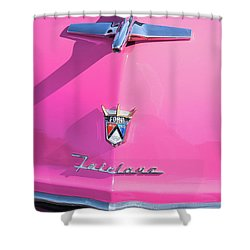 1955 Pink Ford Fairlane Hood Ornament Shower Curtain