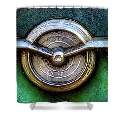 Shower Curtain featuring the photograph 1956 Buick Special Emblem by Greg Mimbs