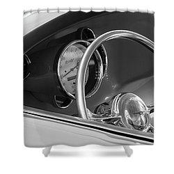 1956 Chrysler Hot Rod Steering Wheel Shower Curtain by Jill Reger