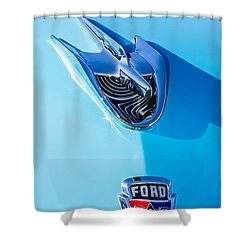 Shower Curtain featuring the photograph 1956 Ford Hood Ornament by Aloha Art