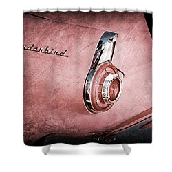 Shower Curtain featuring the photograph 1956 Ford Thunderbird Convertible Taillight Emblem -0361ac by Jill Reger