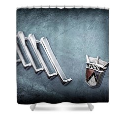 Shower Curtain featuring the photograph 1956 Ford Thunderbird Emblem -0052ac by Jill Reger