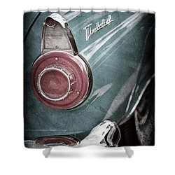 Shower Curtain featuring the photograph 1956 Ford Thunderbird Taillight Emblem -0382ac by Jill Reger