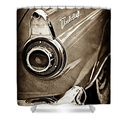 Shower Curtain featuring the photograph 1956 Ford Thunderbird Taillight Emblem -0382s by Jill Reger