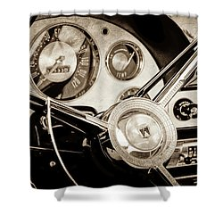 Shower Curtain featuring the photograph 1956 Ford Victoria Steering Wheel -0461s by Jill Reger