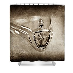 Shower Curtain featuring the photograph 1956 Lincoln Premier Convertible Hood Ornament -0832s by Jill Reger