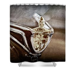 Shower Curtain featuring the photograph 1956 Lincoln Premiere Convertible Hood Ornament -2797ac by Jill Reger