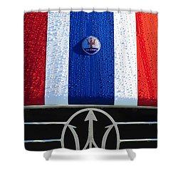 Shower Curtain featuring the photograph 1956 Maserati 350 S Hood Ornament Emblem 3 by Jill Reger