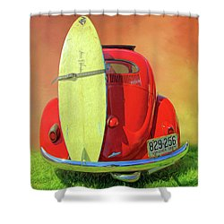 1957 Beetle Oval Shower Curtain by Marion Johnson