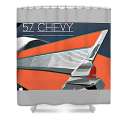 1957 Chevy Art Design By John Foster Dyess Shower Curtain