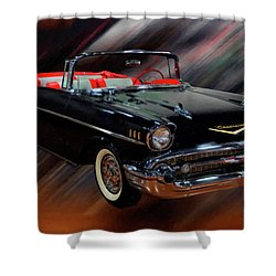 1957 Chevy Bel Air Convertible Digital Oil Shower Curtain