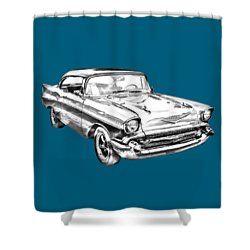1957 Chevy Bel Air Illustration Shower Curtain