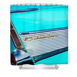 1957 Chevy Bel Air Rear Fin Shower Curtain by Aloha Art