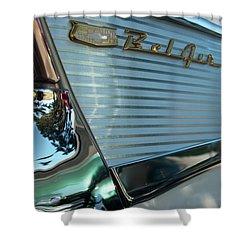 Shower Curtain featuring the photograph 1957 Chevy Belair Fender Emblem by Jani Freimann