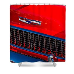 Shower Curtain featuring the photograph 1957 Chevy Hood Ornament by Aloha Art