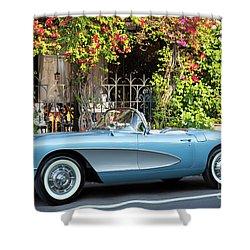 Shower Curtain featuring the photograph 1957 Corvette by Brian Jannsen