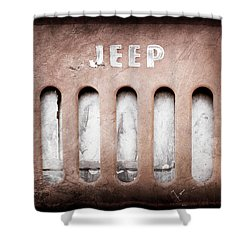 Shower Curtain featuring the photograph 1957 Jeep Emblem -0597ac by Jill Reger