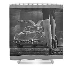 1957 Mercedes Benz 300 Sl Gullwing Coupe In Black And White Shower Curtain