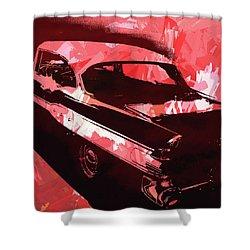1957 Pontiac Super Chief Red Pop Shower Curtain