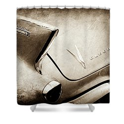 Shower Curtain featuring the photograph 1958 Cadillac Eldorado Biarritz Taillight Emblems -0255s by Jill Reger