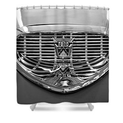 Shower Curtain featuring the digital art 1958 Ford Fairlane Sunliner Intake Bw by Chris Flees