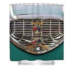 Shower Curtain featuring the digital art 1958 Ford Fairlane Sunliner Intake by Chris Flees