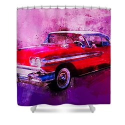 1958 Oldsmobile Hardtop With Continental Kit In Tow Shower Curtain
